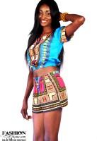 Dashiki / Angelina Print Crop Top & Shorts Outfit