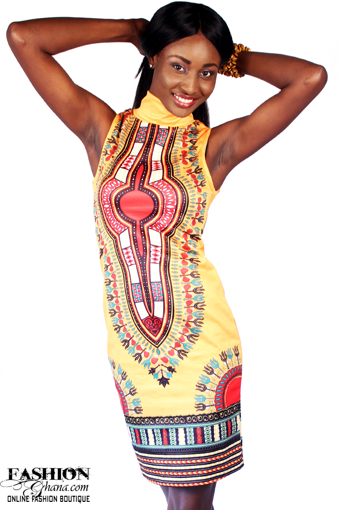 Dashiki / Angelina Print Sleeveless Turtle Neck Dress