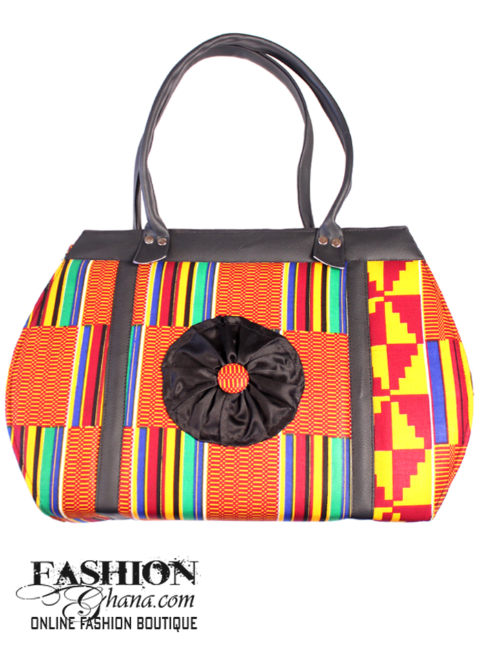 African Print Tote Bag With Flower Design