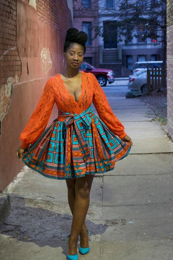 african print skater skirt (3)