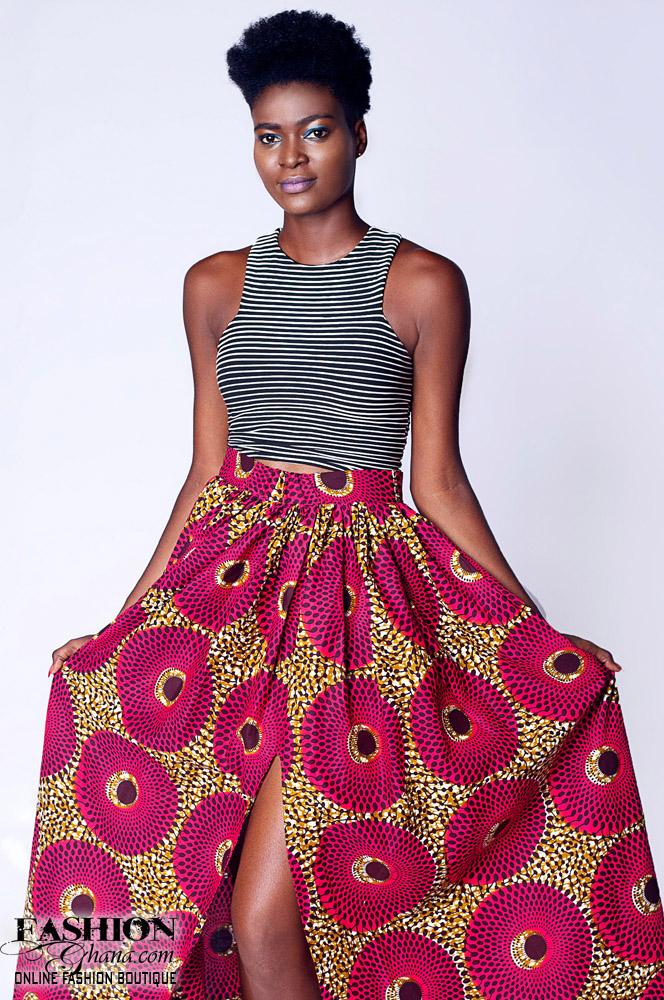 African Print High Waist Maxi Skirt