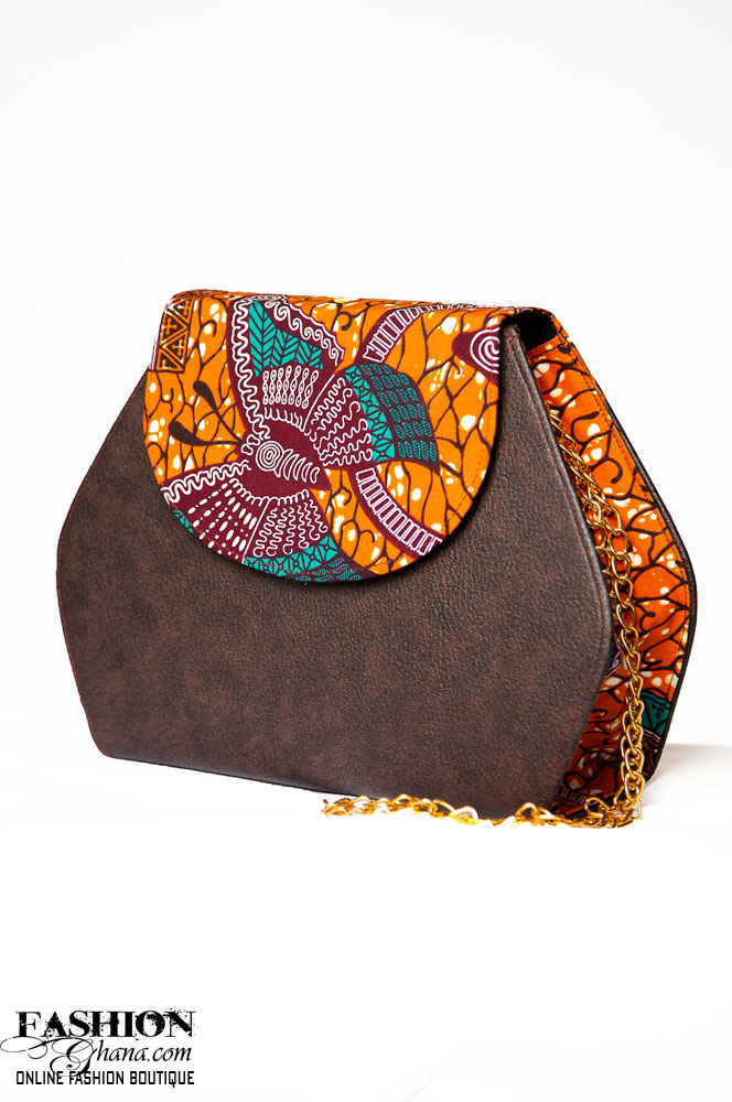 African Print Wax And Leather Across Body Bag