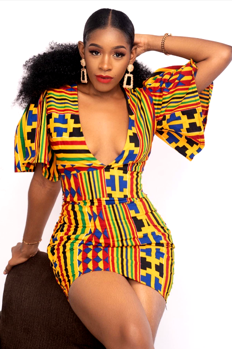 Kente Print Pencil Dress With Choir Boy Sleeves