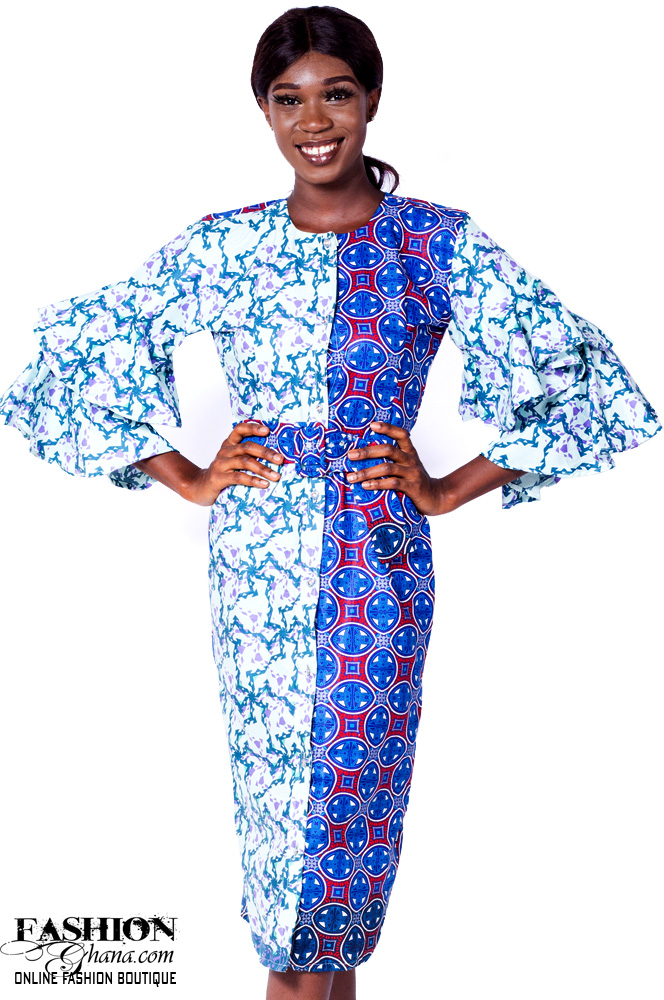 African Print Layered Sleeve Sheath Dress