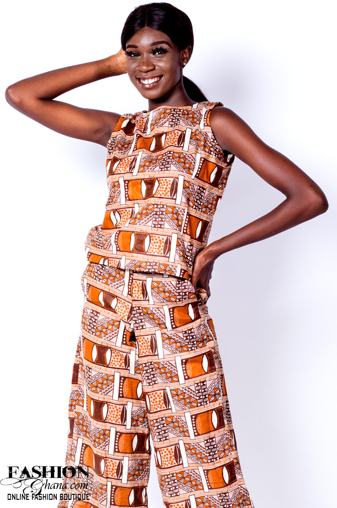 African Print Sleeveless Top With Palazzo Pants