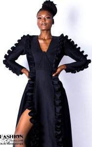 FD Fashion House Slit Maxi Dress With Ruffle Long Sleeves