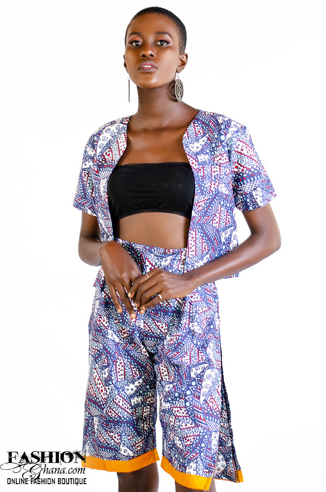 African Print Open Front Cropped Blazer & Double Split Side Shorts