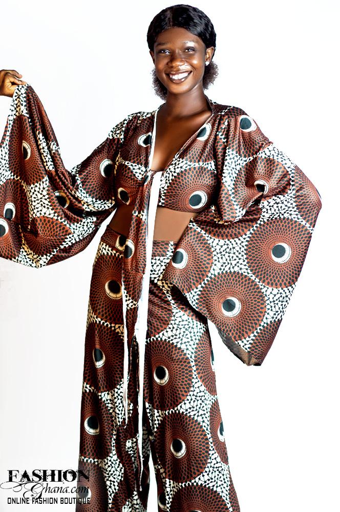 Mikoko African Print Bell Sleeve Knot Crop Top & Pants