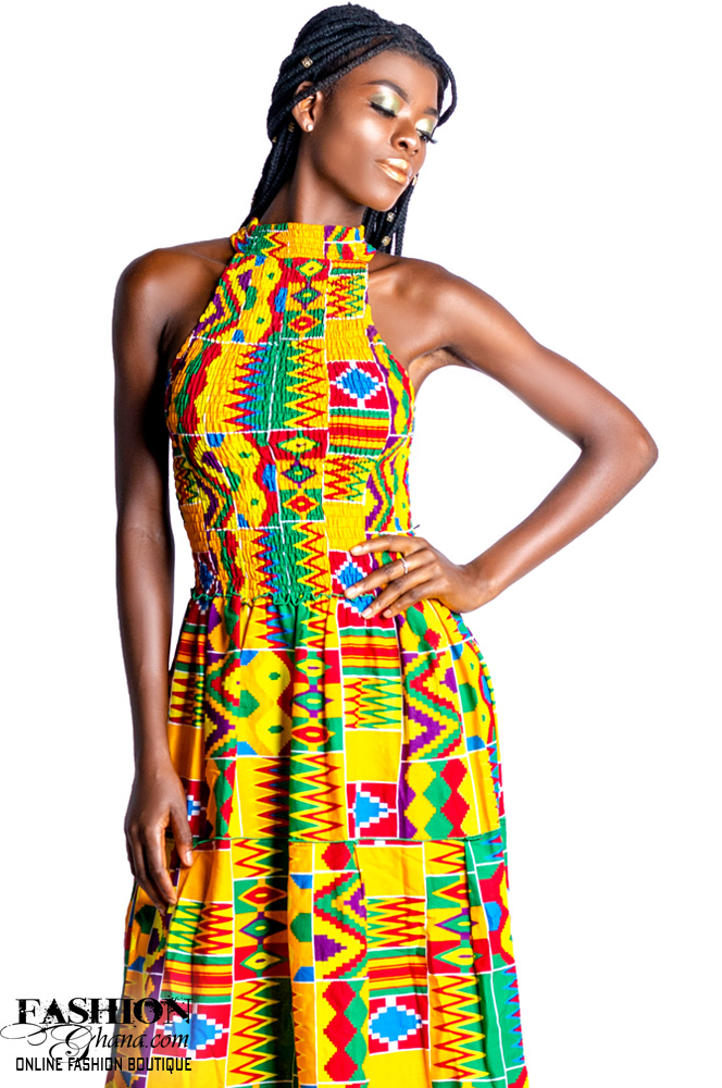 African Print Halter Neck Maxi Dress