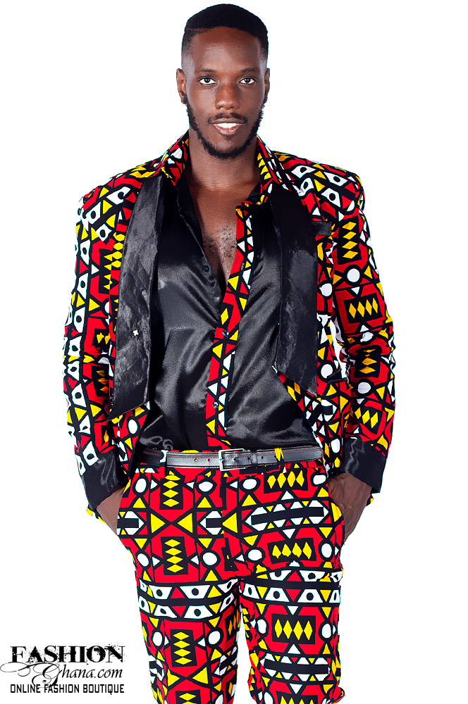 African Print Suit With Matching Silk Shirt & Trousers