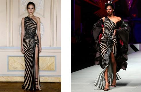 Rajah's dress on the right and Lebanese designer Zuhair Murad's on the left