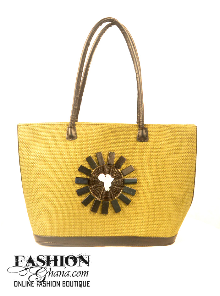 Jute Tote Bag With African Front Statement
