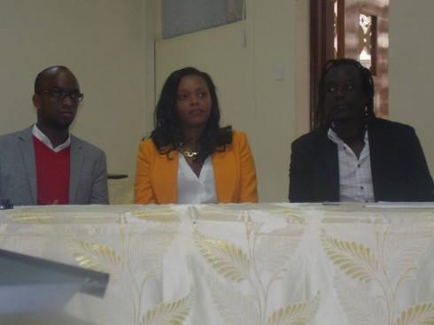 Sunny Dolat, Diana Opoti and Emmanuel Jambo during the Business Of Fashion workshops opening weekend Riara University