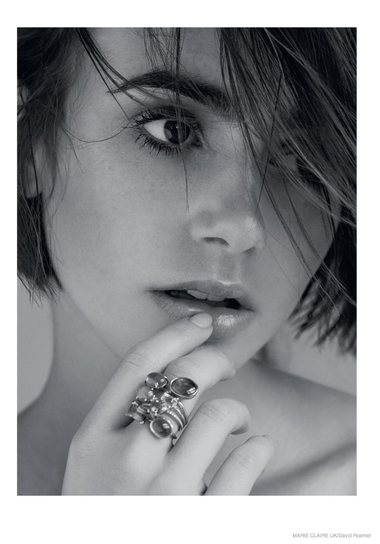 lily collins marie claire uk 2014 shoot05 Actress Lily Collins Poses in Marie Claire UK Story by David Roemer