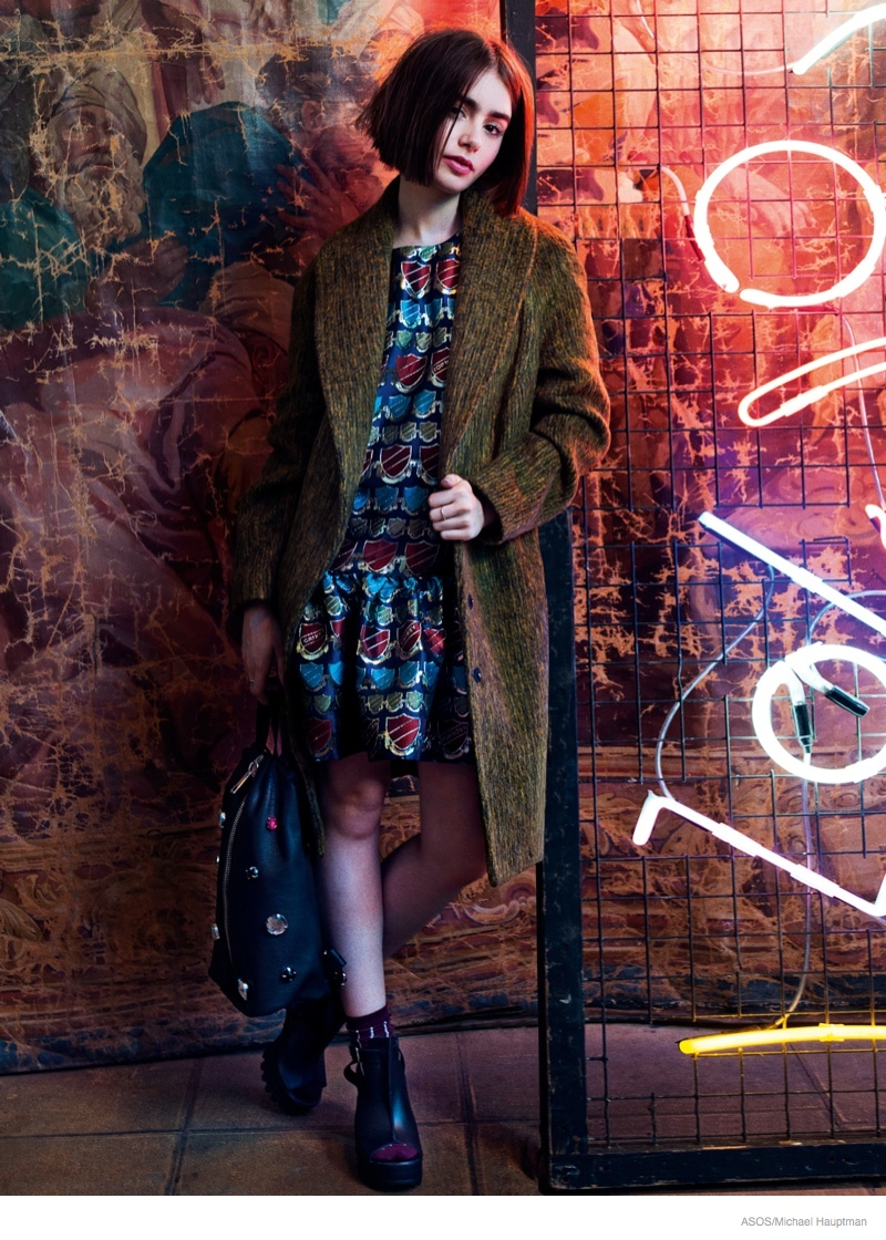 lily collins short hair asos shoot 2014 01 Lily Collins Stars in ASOS, Talks Style & Meeting Karl Lagerfeld