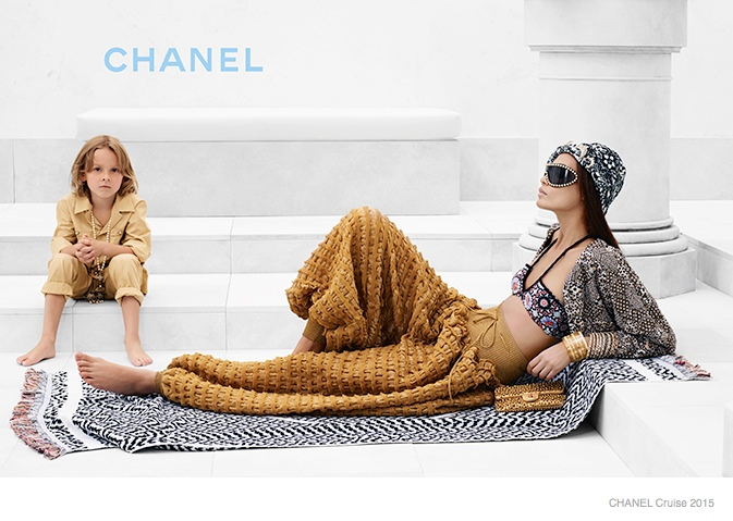 chanel cruise 2015 joan smalls05 Joan Smalls Lounges for Chanel Cruise 2015 Campaign by Karl Lagerfeld