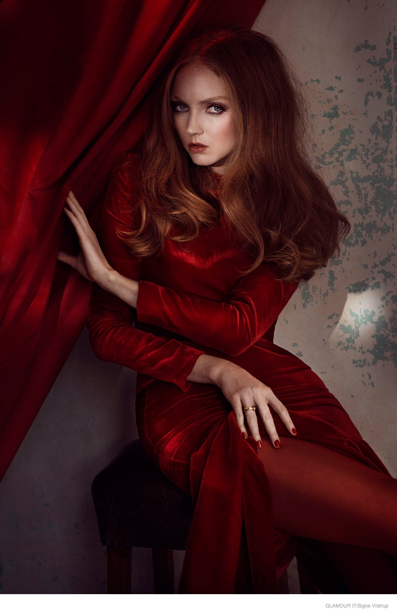 Lily Cole Models Red Hot Fashion Looks In Cover Story Of