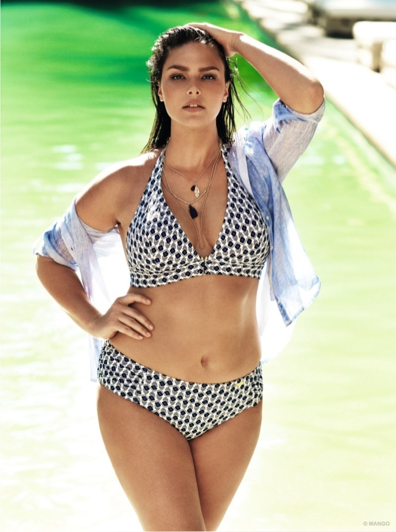 Plus-size model Candice Huffine wears a black and white bikini from Violet by Mango