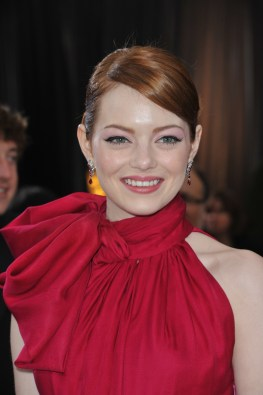 emma-stone-slicked-back-updo-red
