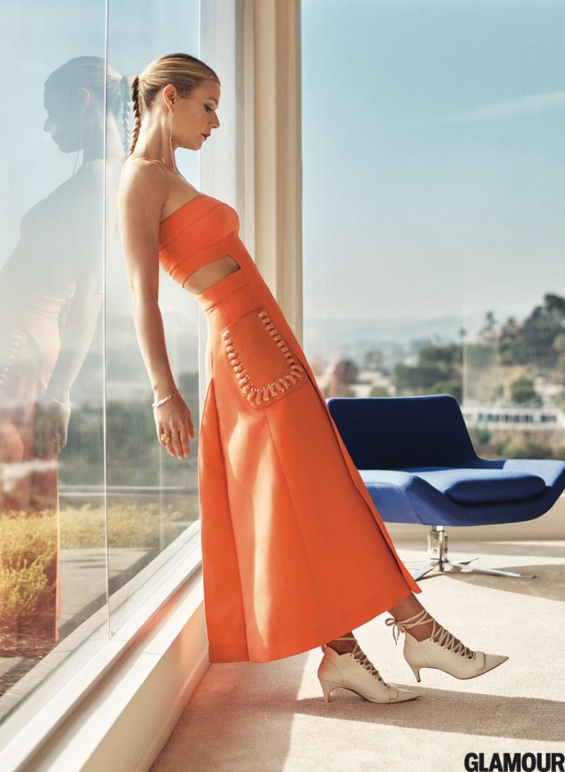 Gwyneth Paltrow flaunts her lithe figure in a Fendi dress with side cutouts