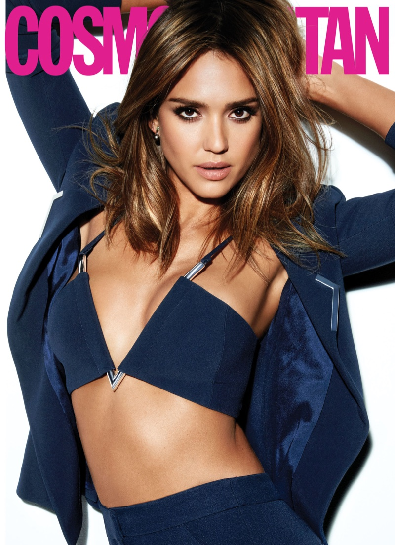 Jessica Alba poses in Mugler bra top, jacket and pants
