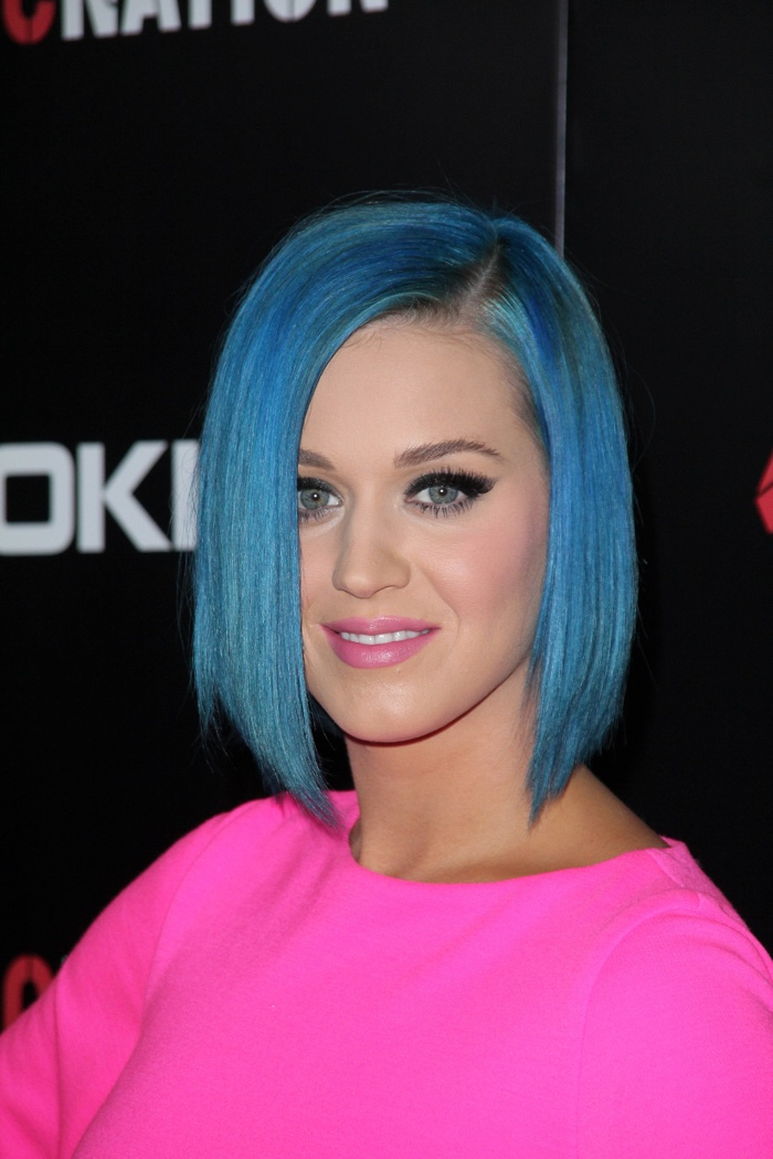 Katy Perry stepped out at a 2012 event with her hair as a short blue bob. Photo: s_bukley / Shutterstock.com