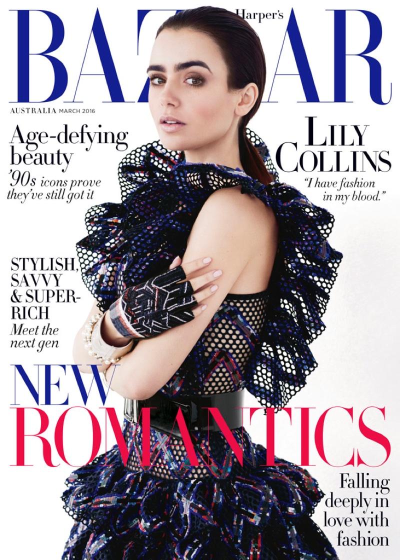 Lily Collins on Harper's Bazaar Australia March 2016 cover