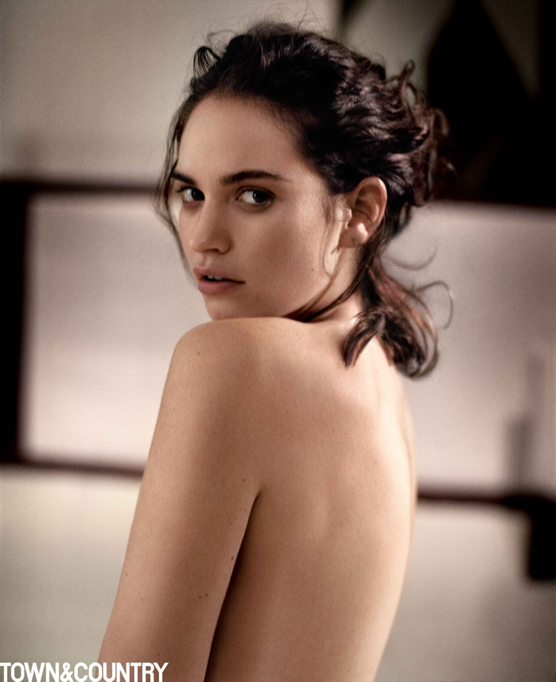 Lily James poses topless for Town & Country's March issue