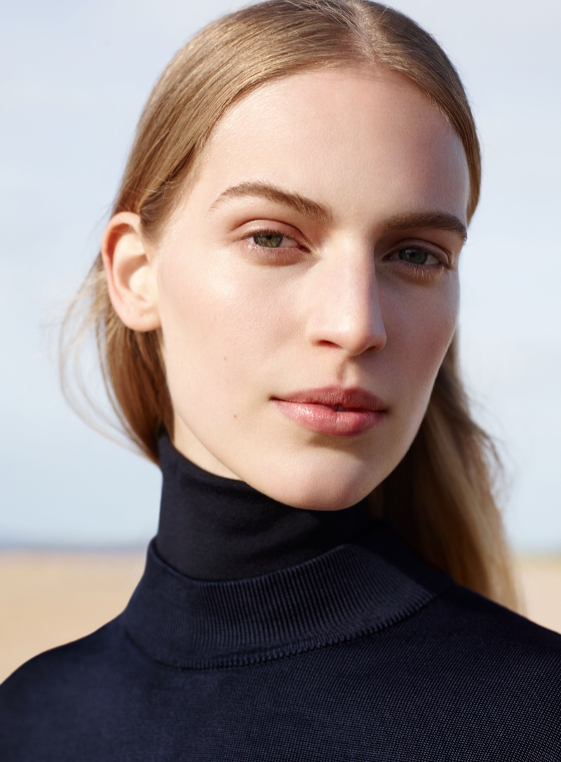 Vanessa Axente gets her closeup in a COS turtleneck for the brand's fall 2016 campaign