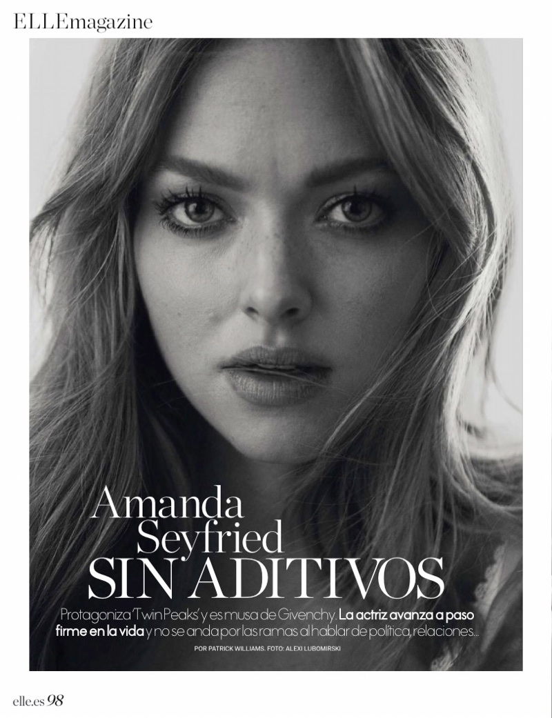 Actress Amanda Seyfried gets her closeup in this black and white image