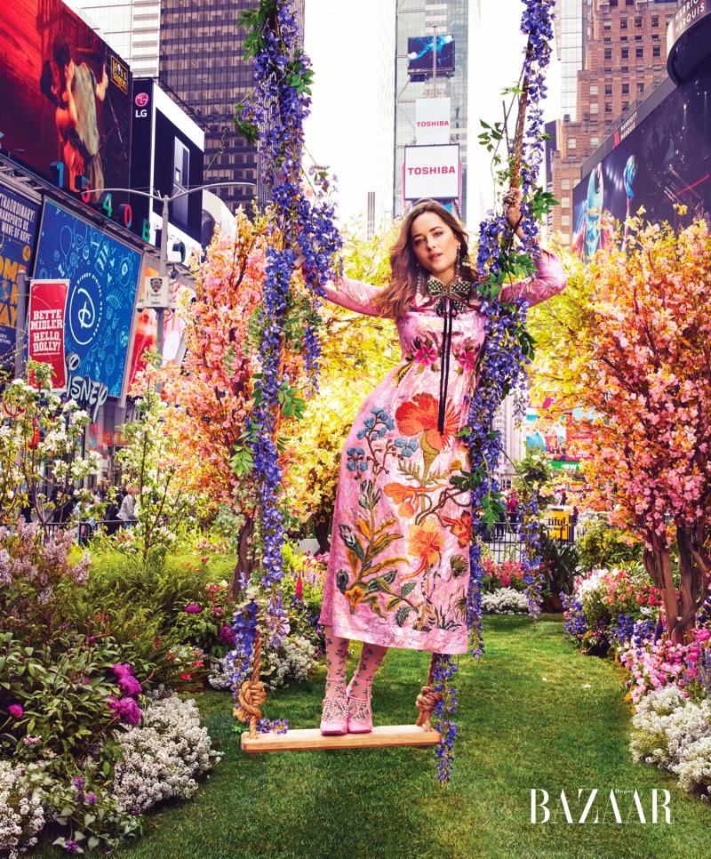 Dakota Johnson wears embroidered dress from Gucci