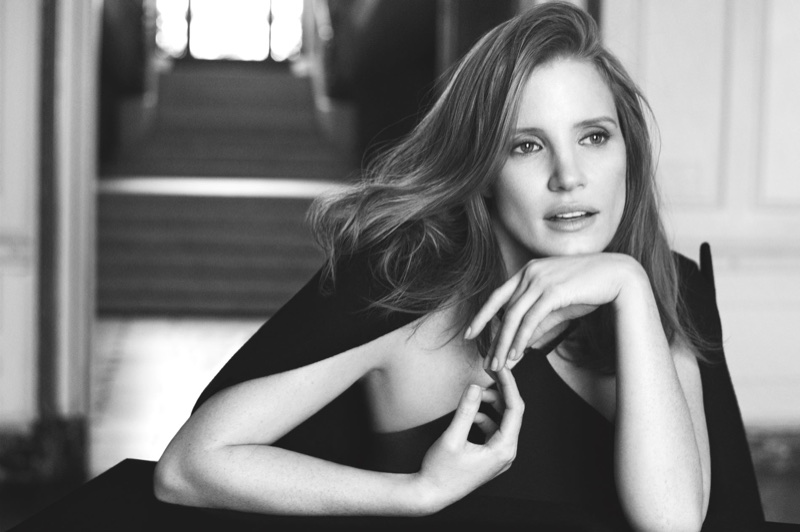Jessica Chastain behind-the-scenes at Ralph Lauren 'Woman' advertising shoot