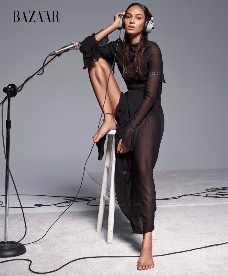 Joan Smalls models Dior dress, bra, briefs and jewelry