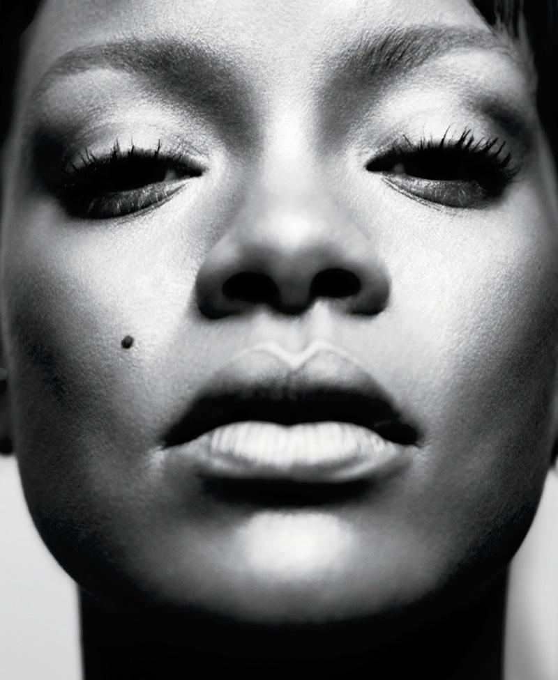 Captured in black and white, Rihanna wears Fenty Beauty