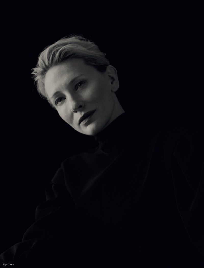 Captured in black and white, Cate Blanchett wears Loewe top