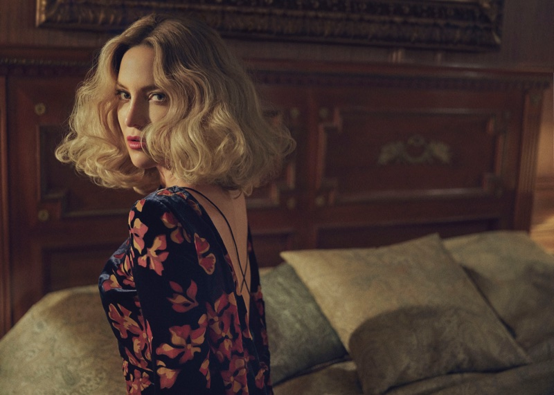Kate Hudson poses in floral print Saloni dress