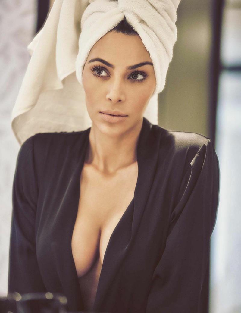 Kim Kardashian poses in Michael Costello blouse