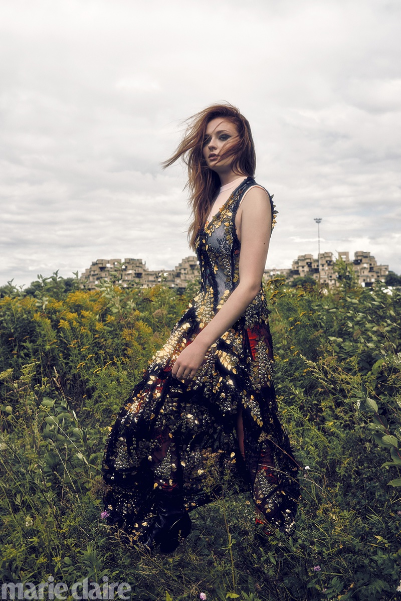 Sophie Turner wears embroidered gown from Louis Vuitton