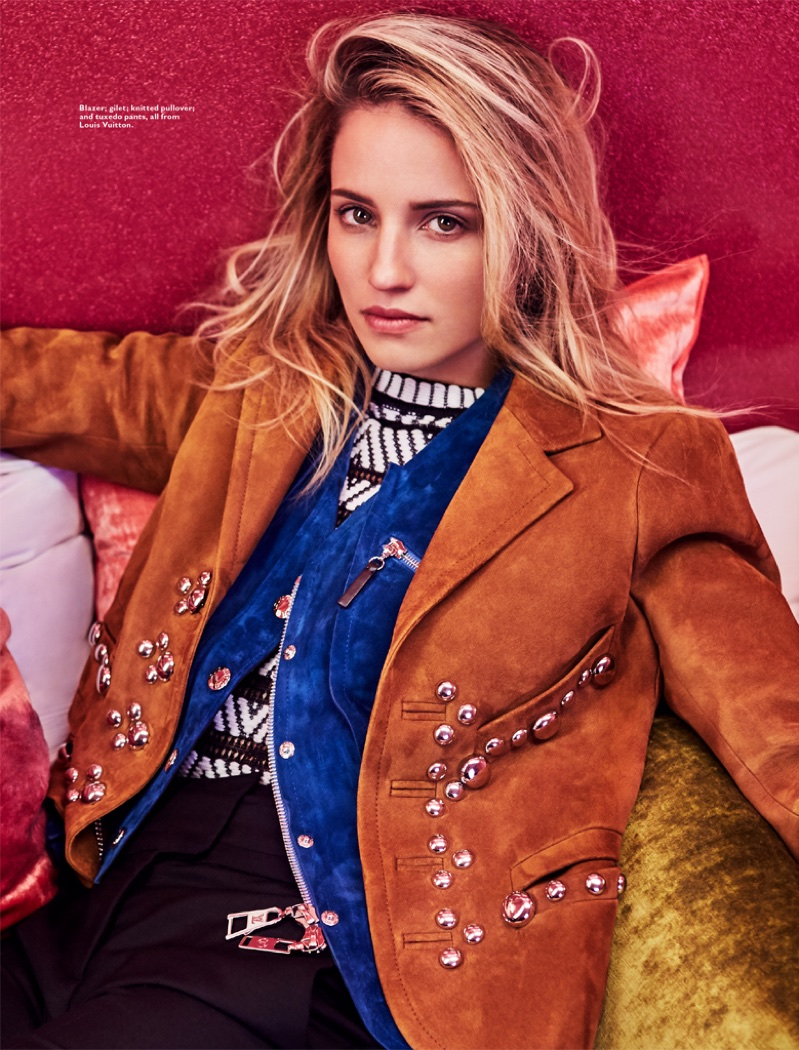 Dianna Agron wears Louis Vuitton blazer, vest, sweater and pants