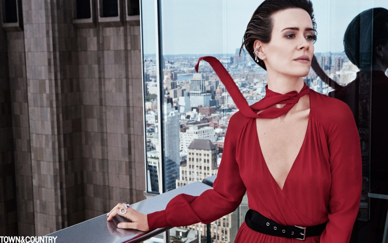Actress Sarah Paulson poses in red Dior jumpsuit