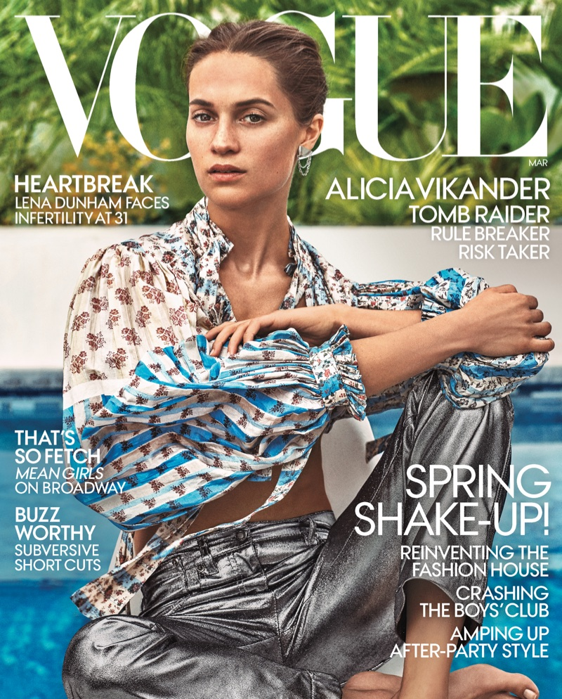 Alicia Vikander on VOGUE March 2018 Cover. Photo: Steven Klein