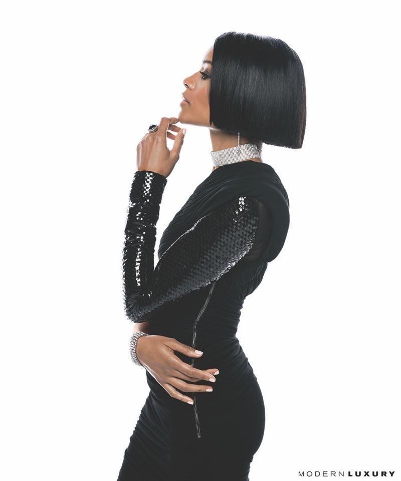 Naomie Harris wears Tom Ford black evening gown