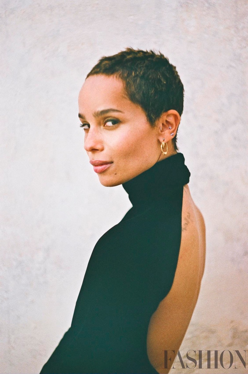 Actress Zoe Kravitz shows off her short hairstyle in this shot
