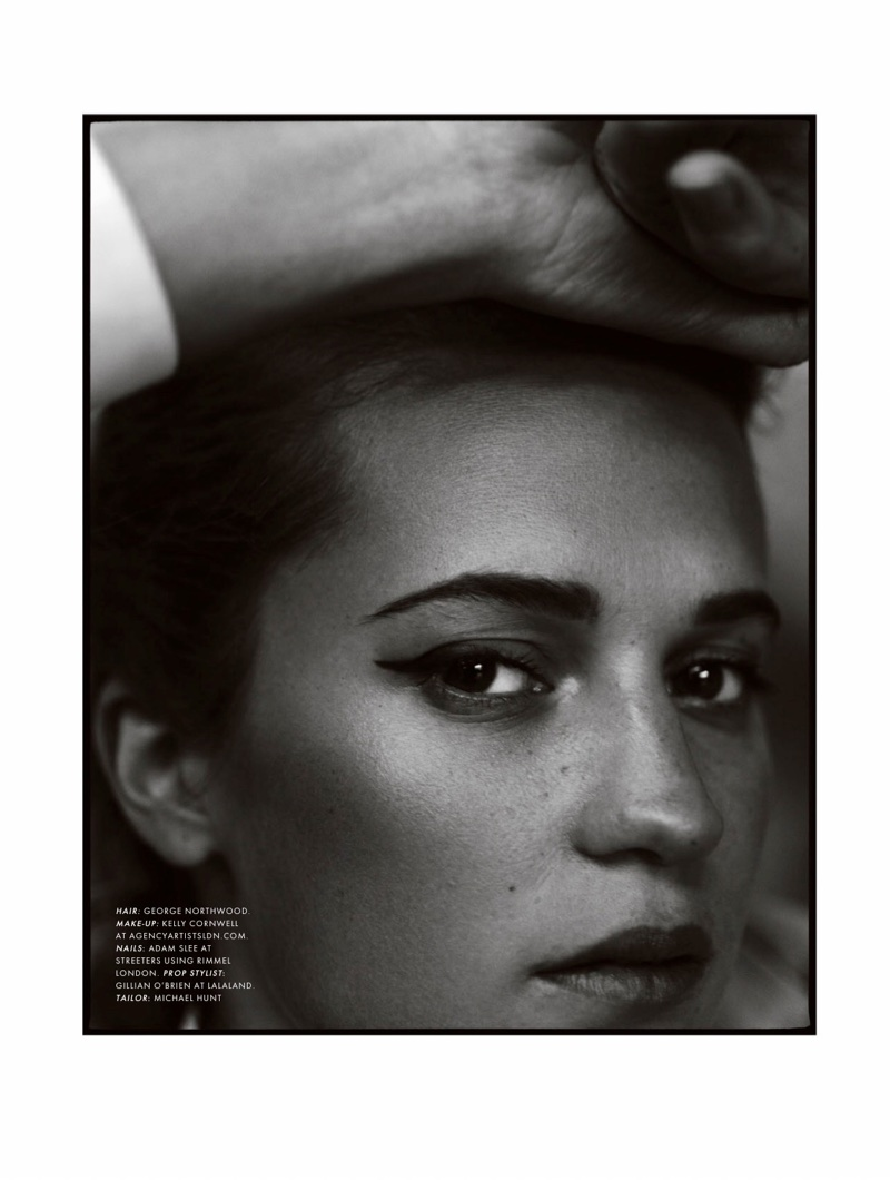 Ready for her closeup, Alicia Vikander poses in black and white photo