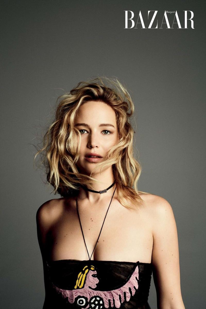 Jennifer Lawrence wears Dior dress and jewelry