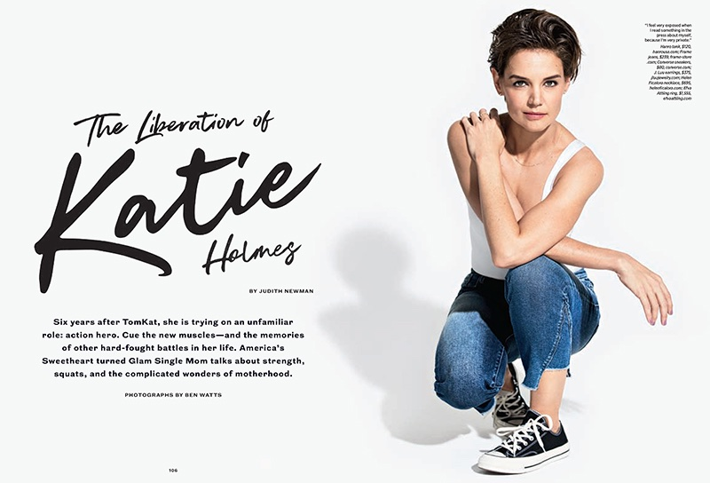 Actress Katie Holmes wears Hanro tank, FRAME jeans and Converse sneakers