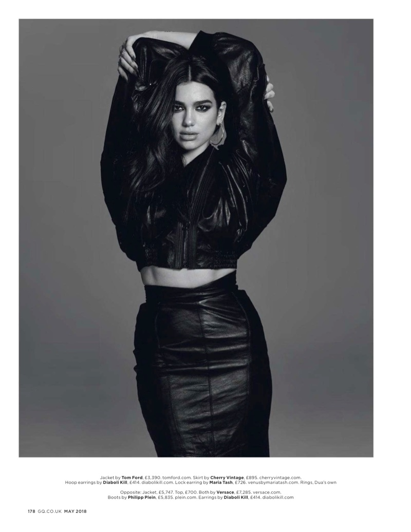Singer Dua Lipa wears Tom Ford jacket and Cherry Vintage skirt