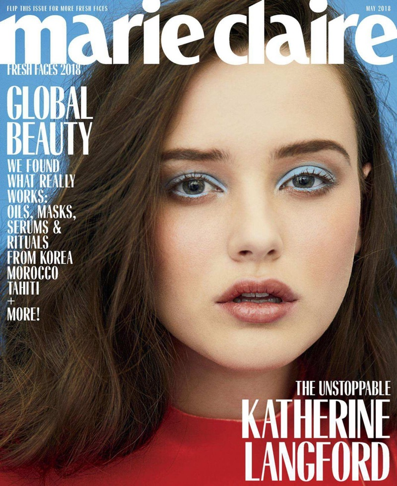 Actress Katherine Langford appears on Marie Claire US May 2018 Cover
