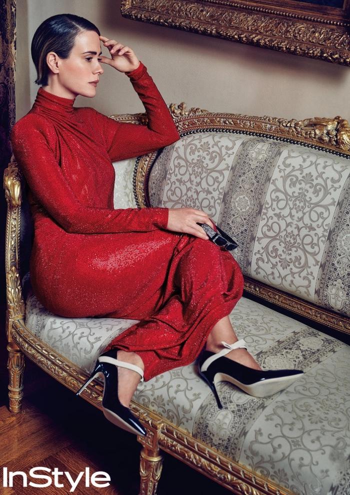 Sarah Paulson poses in Alexandre Vauthier dress and Manolo Blahnik pumps