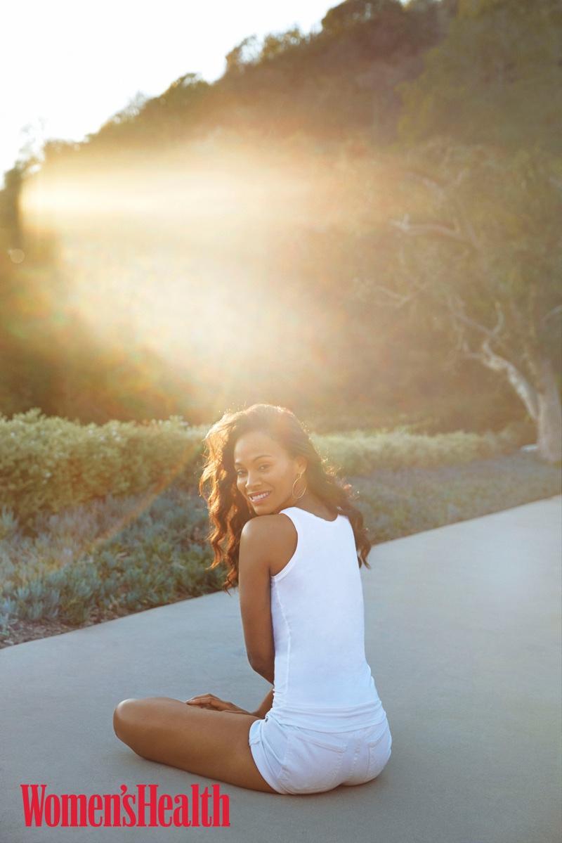 Actress Zoe Saldana poses in summer look